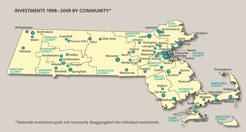 TLI investment map by county in Massachusetts